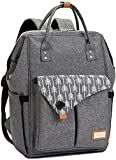 Diaper Bag Backpack, Lekesky Baby Diaper Bag for Mom Travel Back Pack with Changing Pad and Stroller Straps, Unisex and Stylish, Grey
