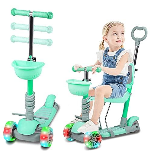 LINQ Scooter para niños, Scooter de Tiro de 3 Ruedas con Asiento Plegable y Llantas de iluminación, 5 en 1 Altura Ajustable Magro para dirigir Ligero, Adecuado para niños de 2 a 8 años.