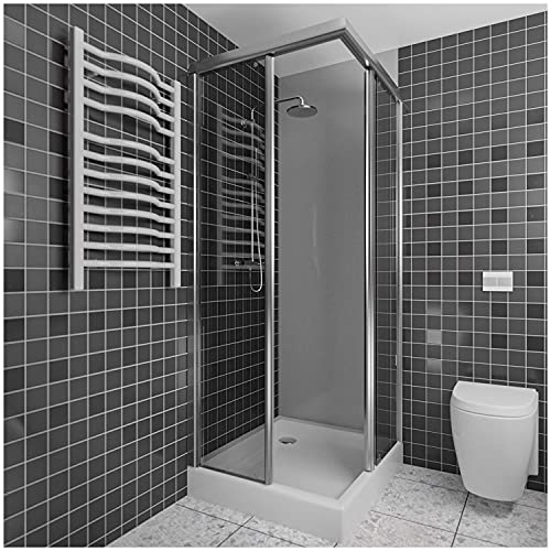 A+H Wandverkleidung - Kunststoffplatte als Duschwand Verkleidung für Dusche/Badewanne - Duschplatte/Duschwand mit Schutzfolie Wandfliesen Badezimmer (250x100cm, hellgrau)