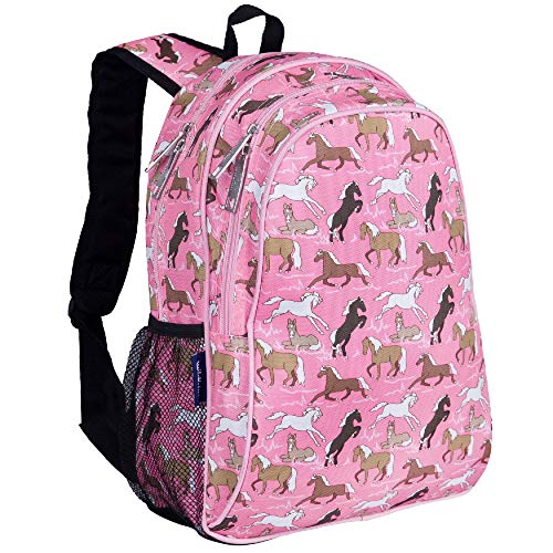 Wildkin Kids 15 Inch Backpack for Boys and Girls, Perfect Size for Preschool, Kindergarten and Elementary School, 600-Denier Polyester Fabric Backpacks, BPA-free, Olive Kids (Horses in Pink)