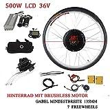 28' 36V/ 48V 250W/ 500W/ 800W/ 1000W Kit di Conversione Motore Bici Elettrica Ruota Posteriore E-Bike Mozzo Ruota Posteriore Kit Motore Bici Elettrica con LCD (LCD Incluso, 36V 500W)