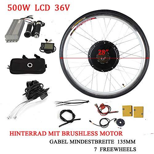 28' Kit Ruota Posteriore Bici Elettrica da 36V 500W Kit di Conversione Ruota Posteriore per Bici Elettrica con LCD