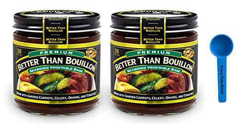 Better Than Bouillon Premium Vegetable Base Bouillon, 8 oz (2 Pack) Bundled with PrimeTime Direct Teaspoon Scoop with BTB Authenticity Seal