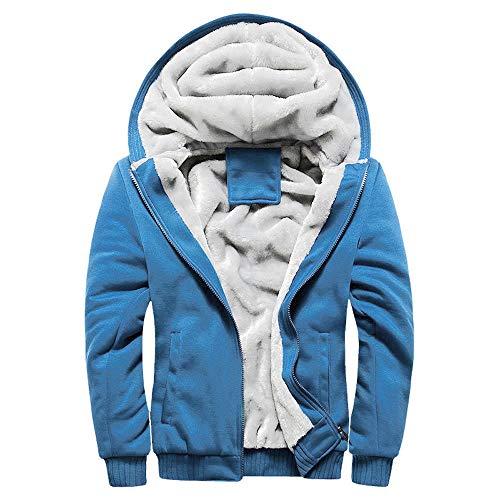 YAYAKI Kapuzenpullover Herren Frühling Fallen Winter Hoodie Bequem Warm Plus Kaschmir Langarm Sweatshirt Einfarbiger Reißverschluss Kapuzenjacke Mit Taschen Plus Größe Top (Blau,3XL