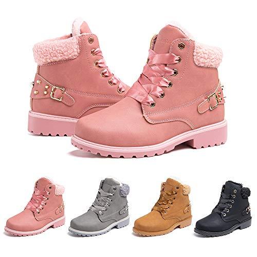 Botas Mujer Invierno Nieve de Cuero PU Zapatos Planas Calentar Piel Forro Cordones Botas Senderismo Snow Boots Outdoor Rosa 38 EU