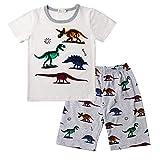 Conjuntos Bebés Niños Niña, Morbuy Pequeño Niño Bebé Ropa Niños Pijama de Dibujos Animados Camiseta Tops Pantalones Cortos Verano Ropa Conjunto (130,Blanco)