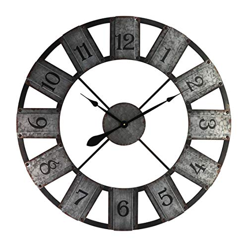 Alice\'s Collection - Reloj de pared grande redondo de metal para salón, cocina y dormitorio, 80 cm de diámetro