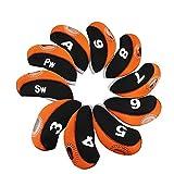 Cubiertas De Club De Golf Caso 10PCS del Hierro del Golf Cabeza Cubierta con número Etiquetas Club de Cubierta de la Cabeza 1 Set Blue Protector Negro (Color : Orange)
