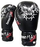 TunerMAX Guantes de Boxeo de Piel de Vacuno Profesional MMA Sparring, Negro, 10 onzas