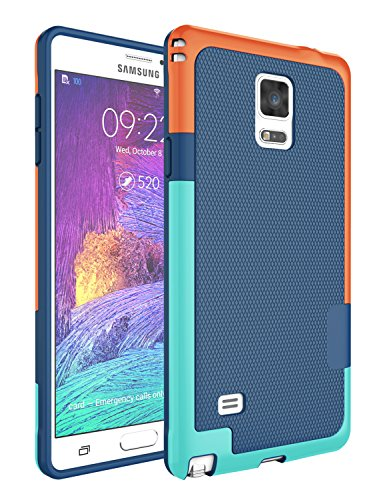 Note 4 Case, Galaxy Note 4 Case, Jeylly [3 Color] Slim Hybrid Impact Rugged Soft TPU & Hard PC Bumper Shockproof Protective Anti-Slip Case Cover Shell for Samsung Galaxy Note 4 Verizon - Blue