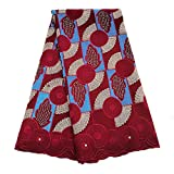 African Lace Fabric Swiss Voile Lace Dry Fabric Embroidered Fabric for Wedding Party ZS753 (Wine)