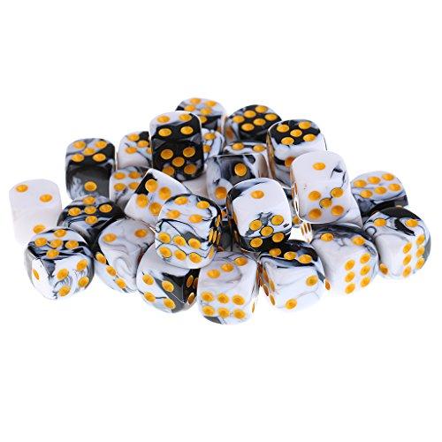 30 Teile / Paket Doppel Farbe Spot Würfel D6 Mit Box Fall Container Für Party Pub - Weiß + Schwarz