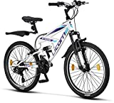 Licorne Strong Bike - Bicicleta de montaña prémium de 26 pulgadas, para niños, niñas, mujeres y hombres, cambio de 21 velocidades, suspensión completa, Niñas, blanco/morado, 24 Pulgadas