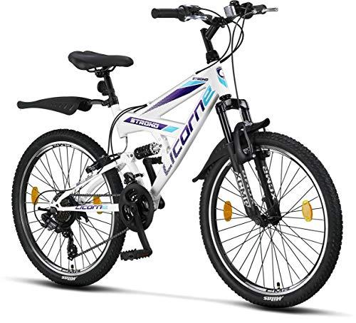 Licorne Strong Bike - Bicicleta de montaña prémium de 26 pulgadas, para niños, niñas, mujeres y hombres, cambio Shimano de 21 velocidades, suspensión completa, Niñas, blanco/morado, 24 Pulgadas