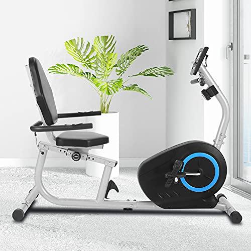 ANCHEER Liegeergometer Heimtrainer Fahrrad- 8-stufiges Fitnessrad mit Magnetwiderstand , Indoor-Fahrrad mit Tablet-Halter/Pulssensoren, maximales Gewicht 240 lbs (Gray)