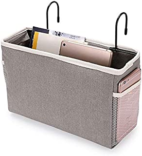 BTSKY Bedside Caddy, Hanging Organizer Bag Holder Bunk Bed Organizer Remote Book Holder for Dorm Room, Hospital Bed Rails,...