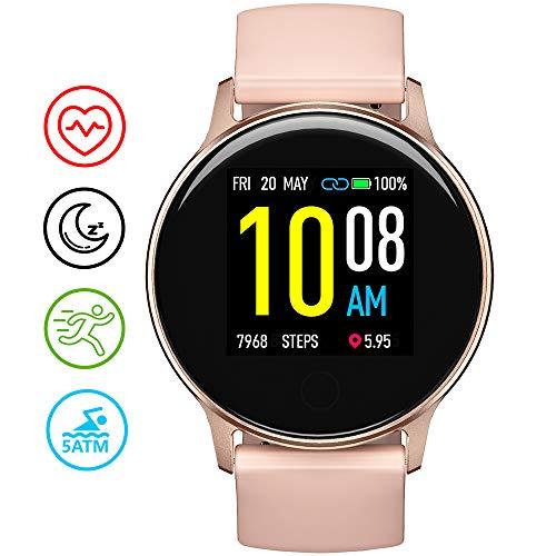 UMIDIGI Smartwatch Uwatch 2S, wasserdichte Fitness Armbanduhr mit frei wählbaren Hintergundbild, Fitness Tracker mit Pulsuhr, Stoppuhr, Schrittzähler, Schlafmonitor für Damen und Herren, Rosa Gold