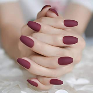 JZJZJ Fake Nails Beautiful Matt Red Wine False Nails Maroon Dark Color Frosted Stiletto Nail Tips Gorgeous Color Manicure
