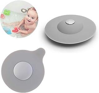 Nobrand - Tapón de silicona para bañera, tapón de desagüe, tapón de desagüe universal para baño, fregadero, cocina (2 unidades)