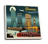 Lantern Press Denver, Colorado - Retro Skyline (Set of 4 Ceramic Coasters - Cork-Backed, Absorbent)