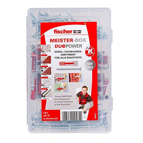 fischer MEISTER-BOX DUOPOWER + Schraube, Werkzeugkiste mit 160 Dübeln und Schrauben, Universaldübel, praktisches Set, Dübelkiste für Heimwerker & Profis