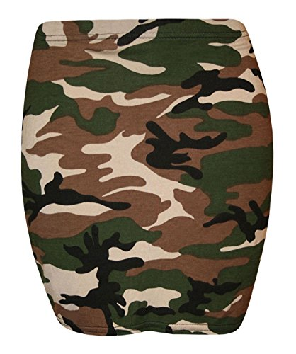 Islander Fashions Damen Stretchy Jersey Printed Minirock Frauen Elastische Taille Kurz Bodycon Camouflage Print XXX Gro�