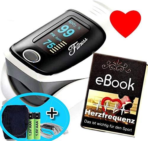 Fitness Prince© Heartbeat O2 Professionell Herz Puls Finger Oximeter mit Alarmfunktion, drehbares OLED Display genauen Messung Sauerstoff-Sättigung (SpO2) der Herzfrequenz mobil Zuhause & Unterwegs