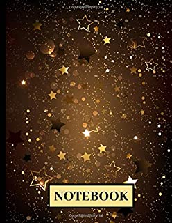 Notebook: Black Paper For Gel Pens Notebook Journal Blank Lined Pages For Writing, Sketching With Pastel Ink ( Yellow Star...