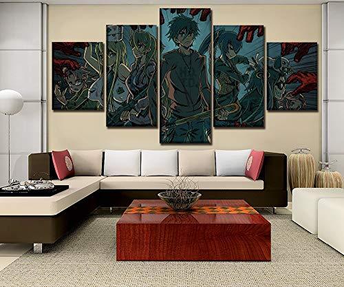 wangpdp Leinwanddruck 5 Stück Anime Highschool of The Dead Malerei Dekorative Rahmen Wandkunst Modulare Bilder Für Wohnzimmer Poster