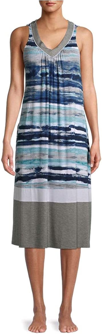 Secret Treasures Stripes Arctic White Sleeveless Midi Dress Gown