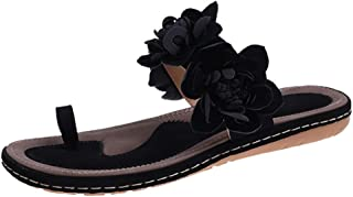 BIBOKAOKE Casual damessandalen, ademende platte sandalen, comfortabele vrije tijd, teenslippers, suède, peep toe bloemensa...