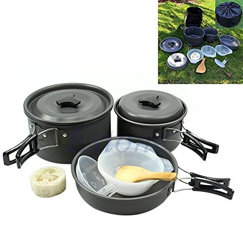 Mzxun Portátil al aire libre Camping Utensilios de cocina Mochilero Cocinar Picnic Bowl Pot Sart Set