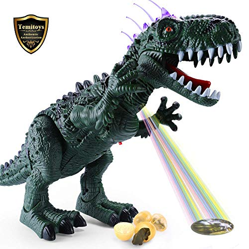 Temi Electronic Walking Dinosaur with Projection, Flashing Horns and Can Lay Eggs, Jurassic Tyrannosaurus Roars, Moves Mouth and Wags Tail, Battery Powered Robotic T Rex Toy for Boys \u0026amp; Girls (Large)