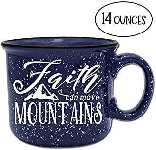 Faith Can Move Mountains Religious Ceramic Camper Coffee Mug- Blue 14 oz Large Coffee Cup - Novelty Inspirational Mugs are Perfect Gift for Women, Mom, Teachers Under $20