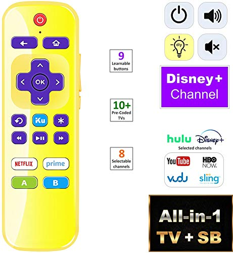 IKU All-in-1 Universal IR Remote for Roku Player/Express and Roku TV w/Volume + Learning + Programable Channels [Not for Roku Stick]