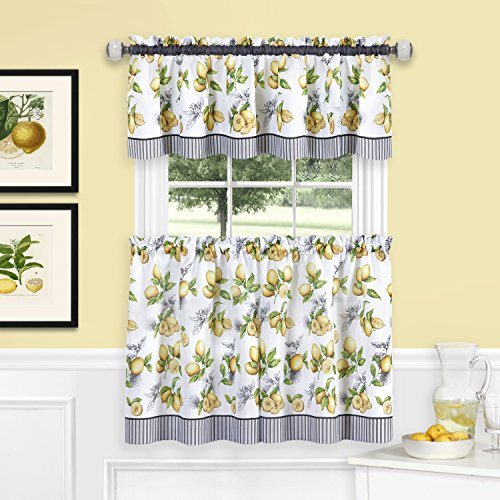 "Achim Home Furnishings LDTV36YL12 Lemon Drop Tier and Valance Window Curtain Set, 58"" x 36"", Yellow"