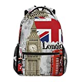 ZZKKO Vintage England London Bigben Boys Girls School Computer Backpacks Book Bag Travel Hiking Camping Daypack