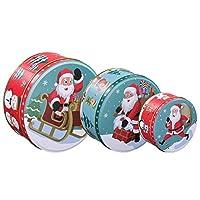 hemoton set di scatole per biscotti natalizi teglie per nidificazione tonde scatole regalo per biscotti set di 3 20 cm / 17 cm / 13. 5 cm