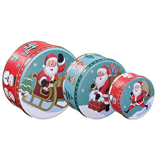 Hemoton Keksdose Plätzchendose Weihnachtsdose Metalldosen 3er Set Rund Geschenkdosen,20 cm /17 cm / 13,5 cm