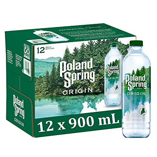 Poland Spring Origin, 100% Natural Spring Water, 900mL Recycled Plastic Bottle, 30.4 Fl Oz (Pack of 12)
