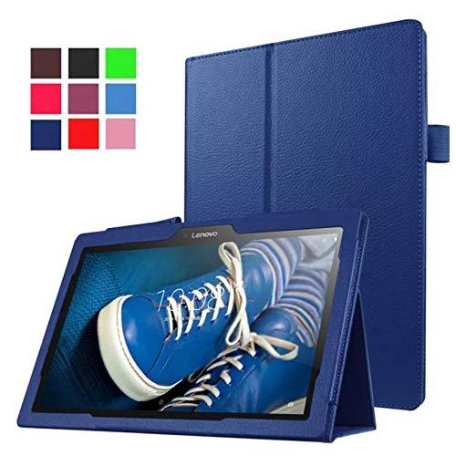 qq666 Estuche Plegable para Tableta para Lenovo Tab 3 10 Business Plus TB-X103F TB3-X70F / L Soporte para Lenovo Tab 2 A10-70F / L A10-30F / L X30F-dark_Blue