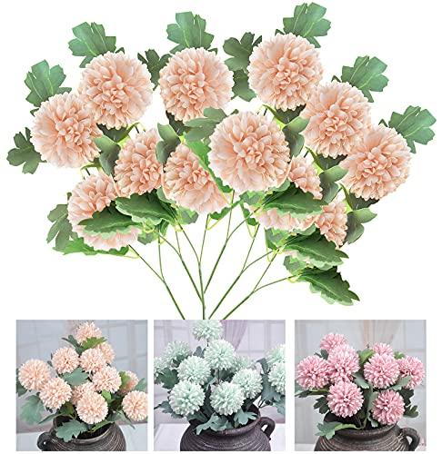 Irtyif Flores Artificiales, Decoración de hortensias, 6 Piezas Decoración de Diente de león de Flor de plástico, se Puede Utilizar para jardín, Interior, Oficina, Boda, Amarillo Claro