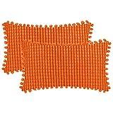 DEZENE Orange Taies d'oreiller Décoratives avec Pompons - 30x50cm Lot de 2 Housses de Coussin en Rectangulaire Velours Côtelé Rayé Big Corn Kernels pour Canapé de Ferme