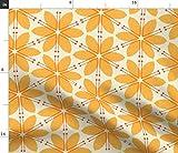 Spoonflower Stoff – Honiggelb Blumenmuster groß orange