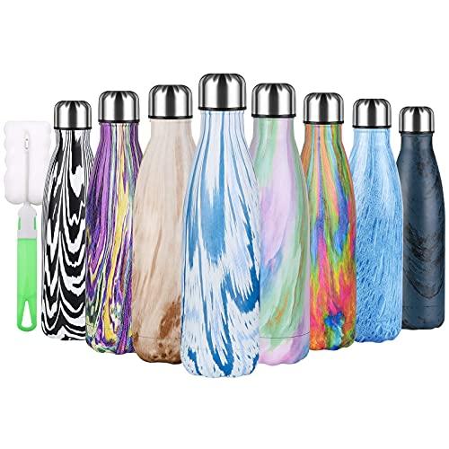 flintronic Botella Termica, 500ML Botella de Agua de Acero Inoxidable, Aislamiento de Vacío de Doble Pared, Botellas de Frío/Caliente Sin BPA & Eco Friendly, con 1 Portavasos y 1 Cepillo