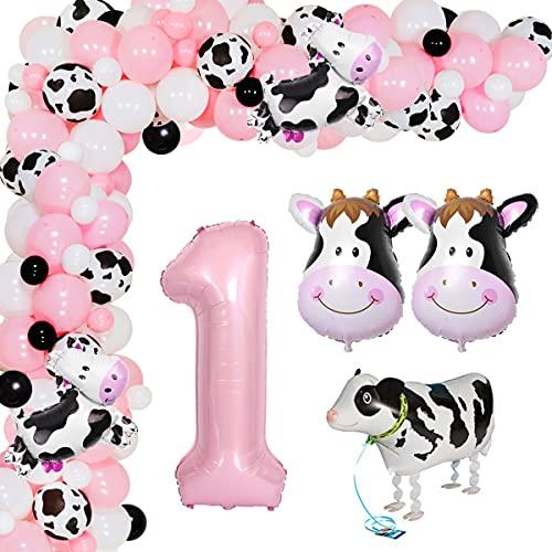 Suministros de fiesta de primer cumpleaños de vaca para niña, globos temáticos de animales de granja, guirnalda de arco, kit de decoración de fiesta de vaca para niñas, primer cumpleaños
