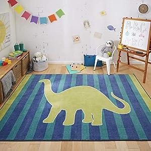 Mohawk Home Friendly Dinosaur Stripe Kids Playroom Area Rug, 5'x8′, Blue/Green