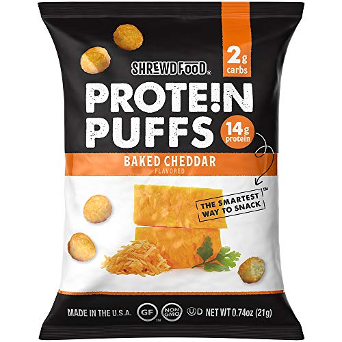 Shrewd Food Protein Puffs - High Protein, Low Carb, Gluten Free, Health Conscious Snacks, Keto Snacks, Non GMO, Soy Free, Peanut Free, Made with Real Baked Cheese - Baked Cheddar, 0.74 Oz (Pack of 8)