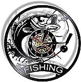 SHILLPS Fishing Wall Clock Made of Real Vinyl Record Mechanical Fish Nightlight Lamp Modern Kitchen Watch Angling Fisherman Gift No Led