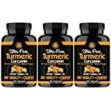 Angry Supplements Ultra Pure Turmeric Curcumin with BioPerine, Black Pepper Extract, 95% Curcuminoids, All Natural Powerful Antioxidant, Non-GMO, Joint Support, Heart Heath, Relief (3-Pack)